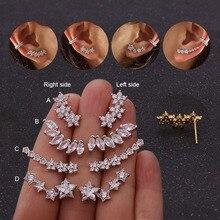 Feelgood белый цветок со стразами звезда маркиза в форме гусеницы серьги изысканные серьги-гвоздики из кубического циркония ухо альпинист ухо гусеничный для женщин ювелирные изделия