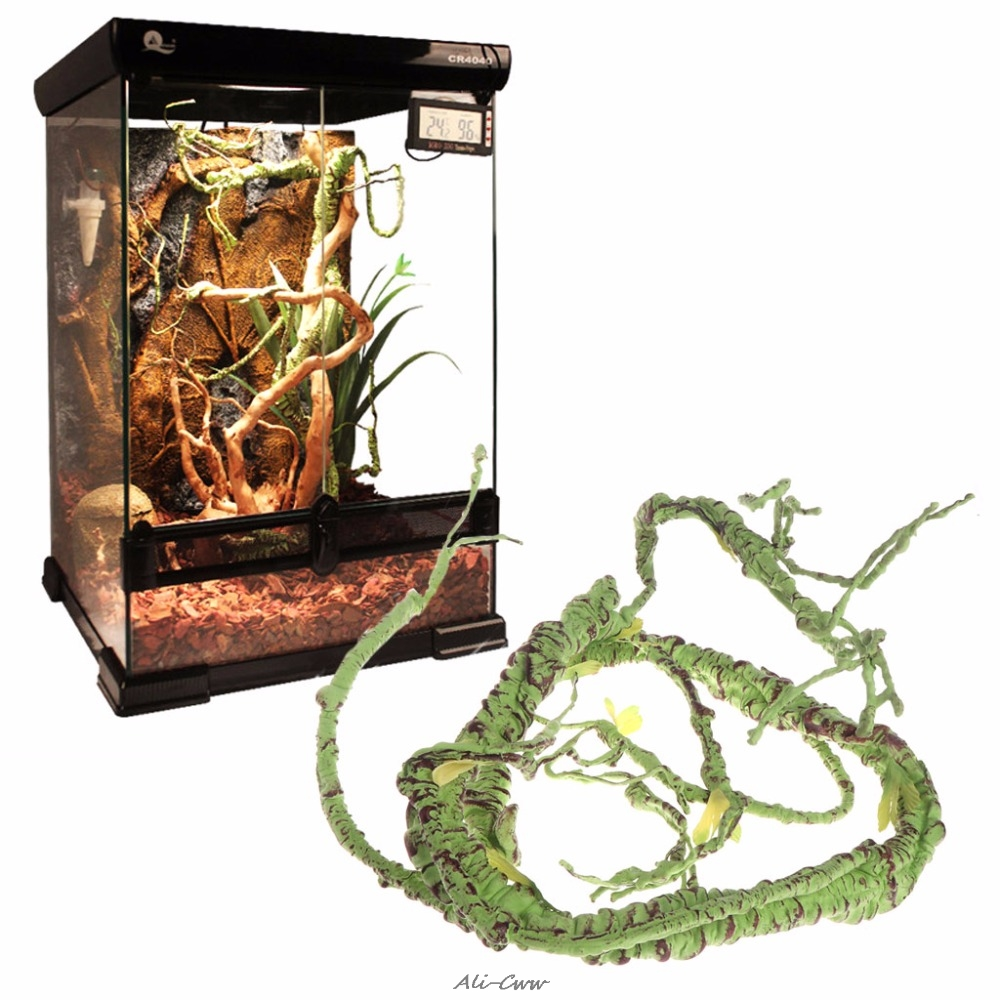 1.1m/1.6m Artificial Rattan Reptile Box Case Decoration Lizard Green Plants Jungle Habitat Reptiles Amphibians Supplies