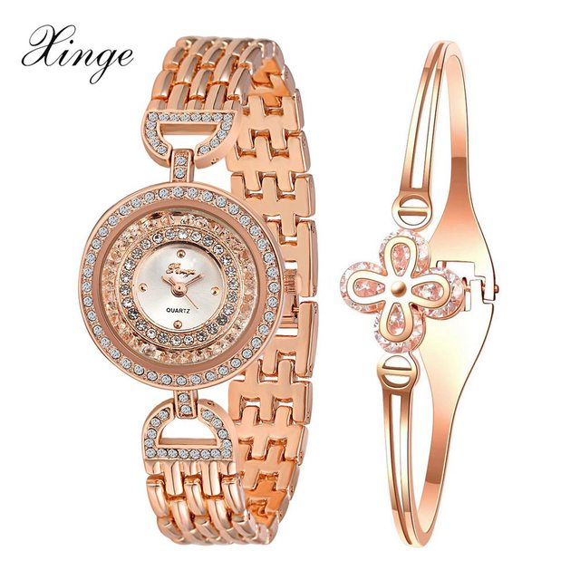 3d3cd9af67a Xinge Brand Famous Watch Women Fashion Flower Crystal Gemstone Rose Gold  Watch Set Bracelet Wristwatch Female Dress Quartz Watch