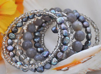 Pearl Bracelet,Stretch Glaring Black Pearls Faceted Crystal Gray A gate Bracelet Bangle