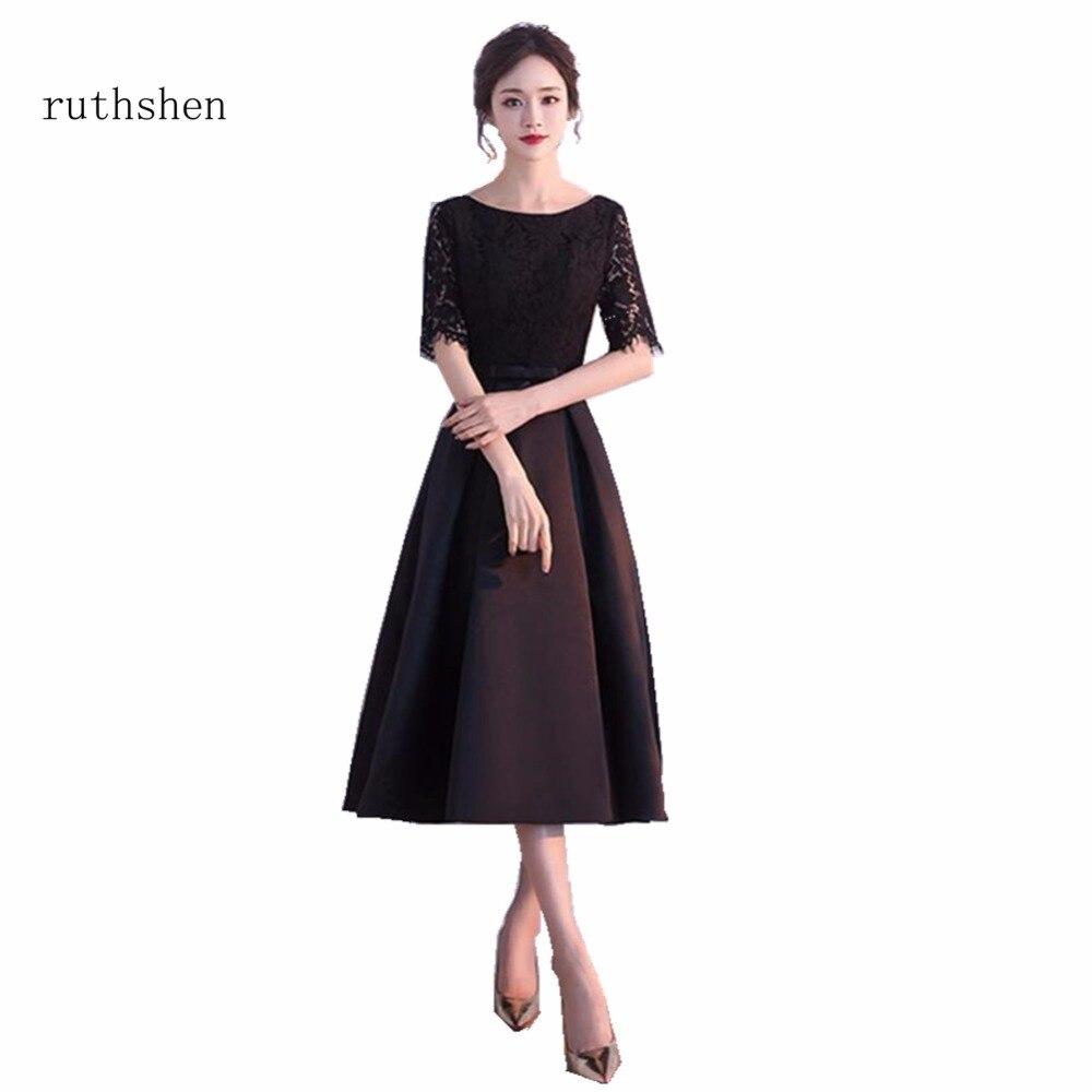 ruthshen Sexy Real Photos Black Short   Cocktail     Dresses   Half Sleeves Lace Top Vestidos Coctel Cheap In Stock Vestido Coctel Corto
