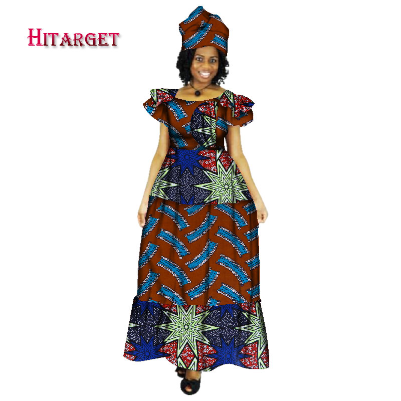 New Bazin Riche African Dresses for Women Print Splice Long Dashiki Traditional Clothing dress women WY257