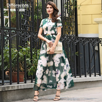 DF Plus Size Dress Xxxl Women Chiffon Printed Flowers Long Dress Short Sleeves O Neck Buttons