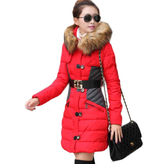 2016 new style winter women jacket long down coat large collar parka coats female outerwear sashes plus size thick jackets ZJ881