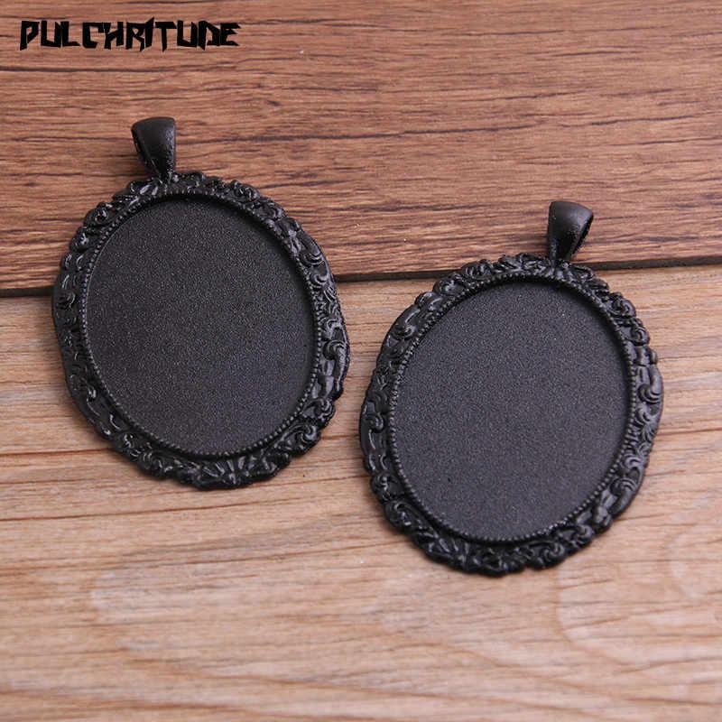 PULCHRITUDE 2 adet 30*40mm iç boyutu siyah kaplama 10 tarzı büyük Oval Cabochon bankası ayarı Charms kolye kolye bulguları P6591