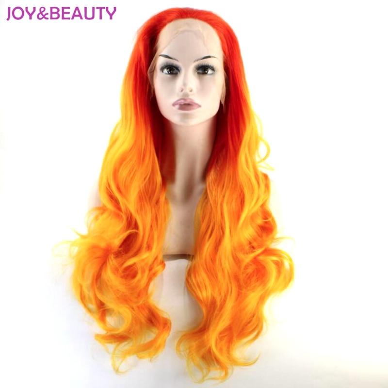 Rode orange synthetische ombre kant hittebestendige lange golvend haar voor cosplay pruiken gratis verzending