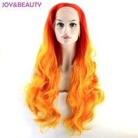 Rojo orange ombre peluca del frente del cordón sintético a prueba de calor largo ondulado del pelo de cosplay pelucas envío gratis
