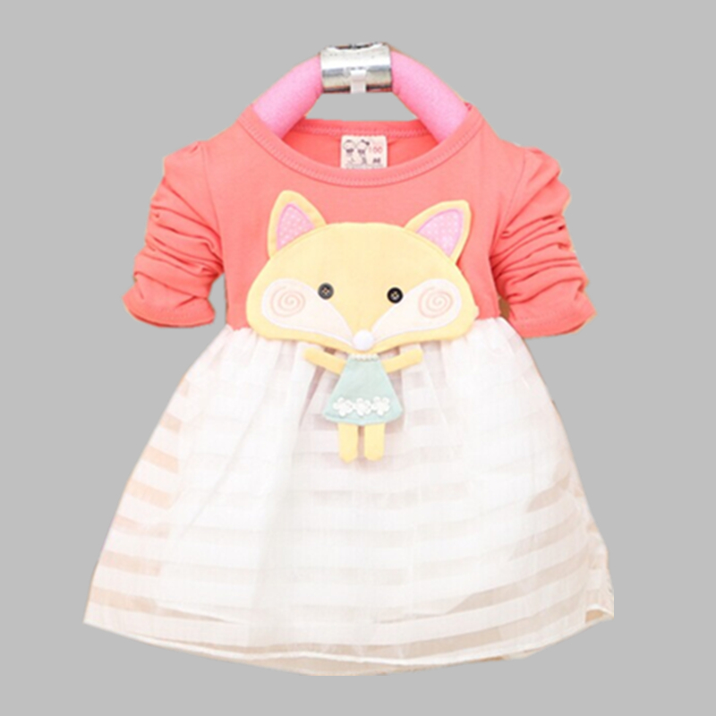 Baby Girls Dress 2017 Autumn New Fashion Cotton Material Small Fox decor Children infant Dresses 1-3 years old A154