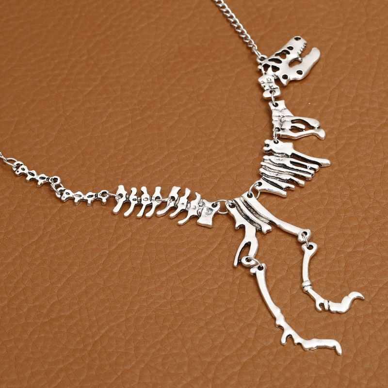 เซ็กซี่ยาวสร้อยคอ Gothic Tyrannosaurus Rex ไดโนเสาร์โครงกระดูกจี้ Charm สร้อยคอมังกรโลหะผสม Collares เครื่องประดับ