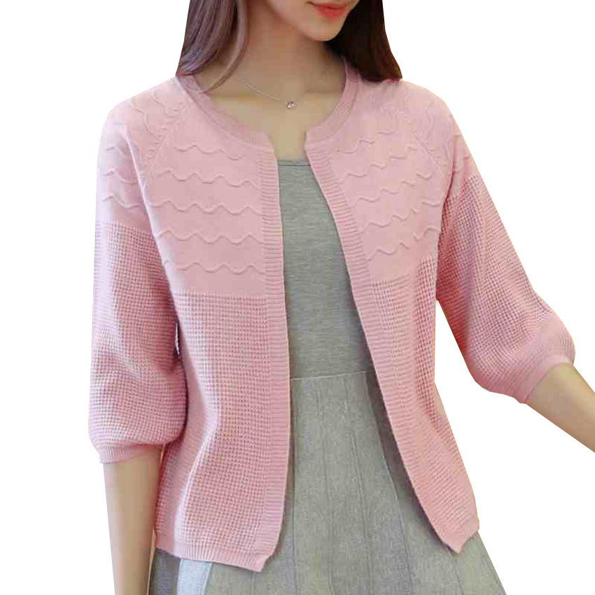 Women Knitted Cardigans New Autumn Winter Puff Sleeve Sweater Cardigan Jacket Casual Loose Basic Coat Female Short Coats AB527
