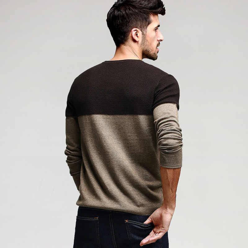 2a5728a01 ... Осенние мужские свитера хлопковая Лоскутная хаки вязаная мода брендовая  одежда человек Трикотаж пуловеры мужской Вязание одежда ...