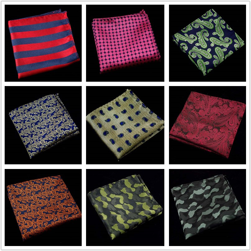 New Fashion Men's Cotton Handkerchieves Floral Handmade Pocket Square Men Suit Geometric Pocket Square Men Plaid Pocket Square