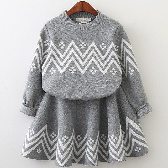 Костюмы с платьем, коллекция 2018 года, зимнее платье для девочек, платье с геометрическим рисунком, одежда с длинными рукавами для девочек, верхняя одежда + платье-пачка, свитер, трикотаж, 2 предмета