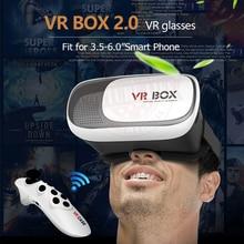 """Новый VR Виртуальная 3D Очки Google картон HeadMount VR КОРОБКА 2.0 для 3.5 """"-6.0"""" Смартфон + Bluetooth Пульт дистанционного управления"""