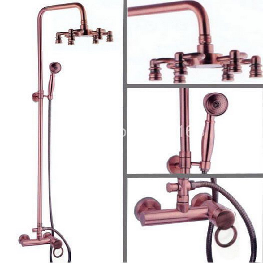 Antique Red Copper Brass Wall Mounted Bathroom Rain Shower faucet Set Telephone Style Handheld Shower Head Mixer Tap arg012