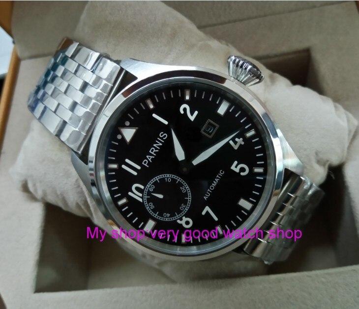 47mm big pilot PARNIS Black dial Automatic Self-Wind movement Auto Date men watches luminous Mechanical watches df132A