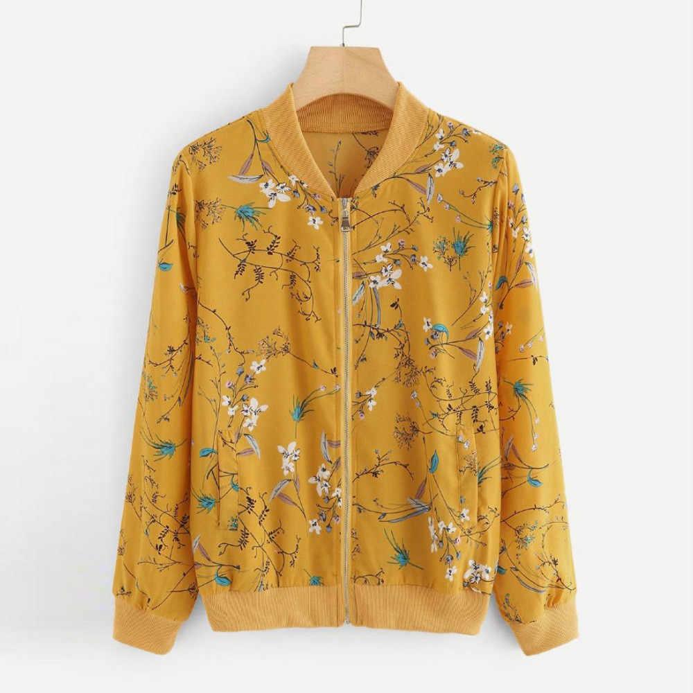 KANCOOLD jesień kurtka Bomber 2018 kobiety moda z długim rękawem Zipper płaszcz pani kwiatowy Print topy odzież codzienna znosić PJ0724