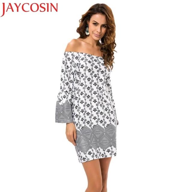 47d21f922d JAYCOSIN Newly Design Women Summer Print Patchwork Off-Shoulder Wide Sleeve  Short Maxi Party Dresses