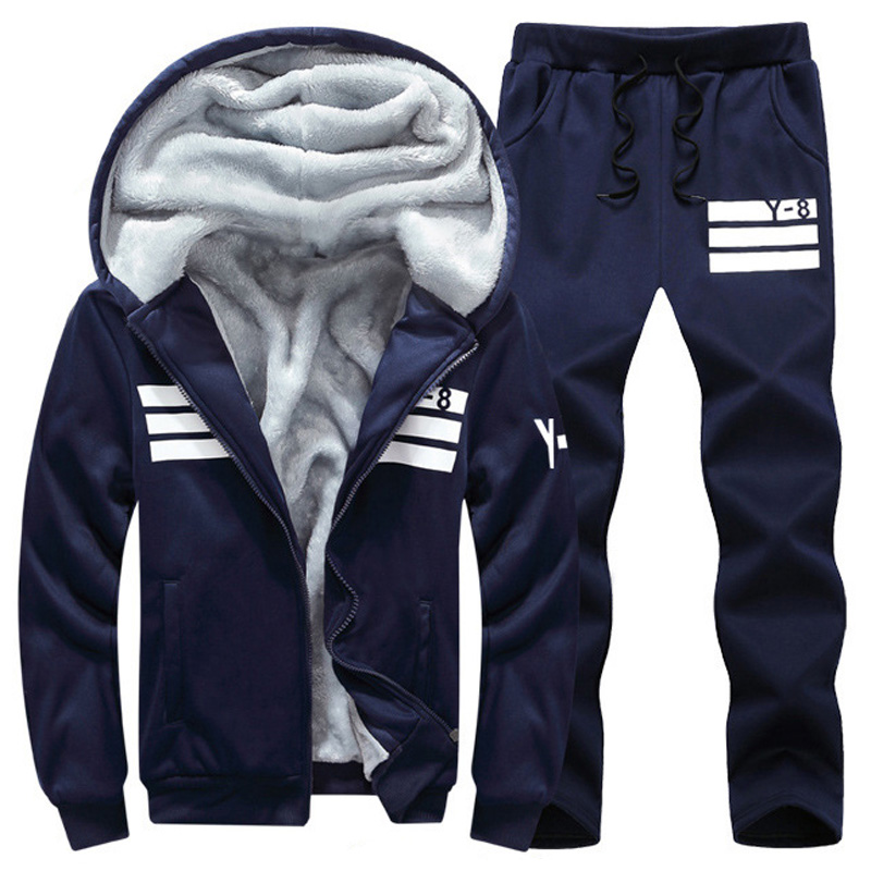 Winter Tracksuits Men Set Thicken Fleece Hoodies + Pants Suit Sweatshirt Sportswear Male Hoodie Sporting Suits Plus Size
