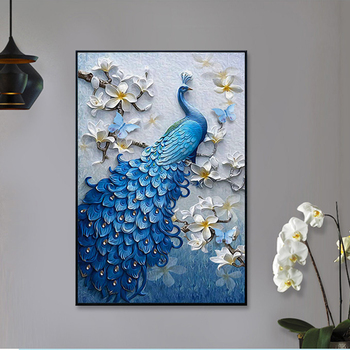 5D Diy Diamond Painting Peacock Full Round Handmad Mosaic Diamond Embroidery New Arrivals Christmas decorations Home Decor 1