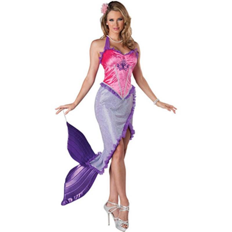Burlesque Halter Neck Purple Ruffle High Front Slit Fancy Dress Mermaid Costume Halloween Costumes for Woman Hot Sale New L15230 L15230 800x800