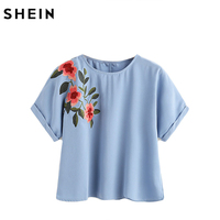 SheIn Flower Embroidered Cuffed Sleeve Top Summer Blue Casual Shirt Women O Neck Shor Sleeve Blouse