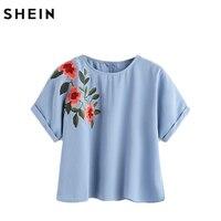 SheIn Flower Embroidered Cuffed Sleeve Top Summer Blue Casual Shirt Women O Neck Shor Sleeve Blouse