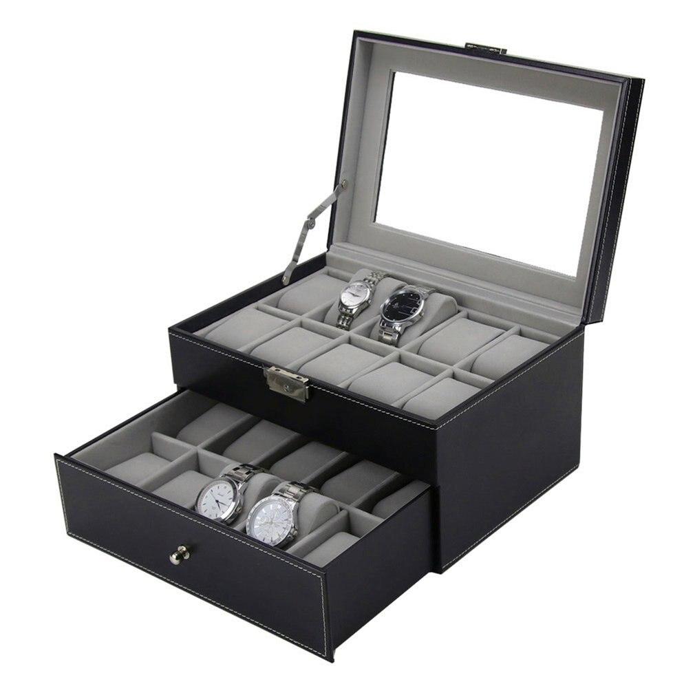 Nouveau PU cuir Double couches 20 grilles fentes montre boîte montres conteneur organisateur boîte bijoux affichage mallette de rangement