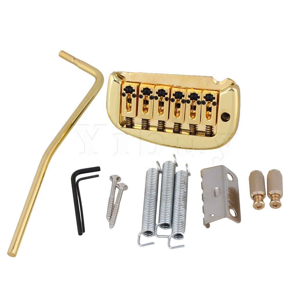 Yibuy Golden Double Locking System Tremolo Bridge for 6 String Electric Guitar yibuy 5 x zinc alloy 3 string electric cigar box guitar bridge tailpiece gold