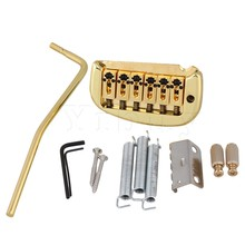 Yibuy Golden Double Locking System Tremolo Bridge for 6 String Electric Guitar
