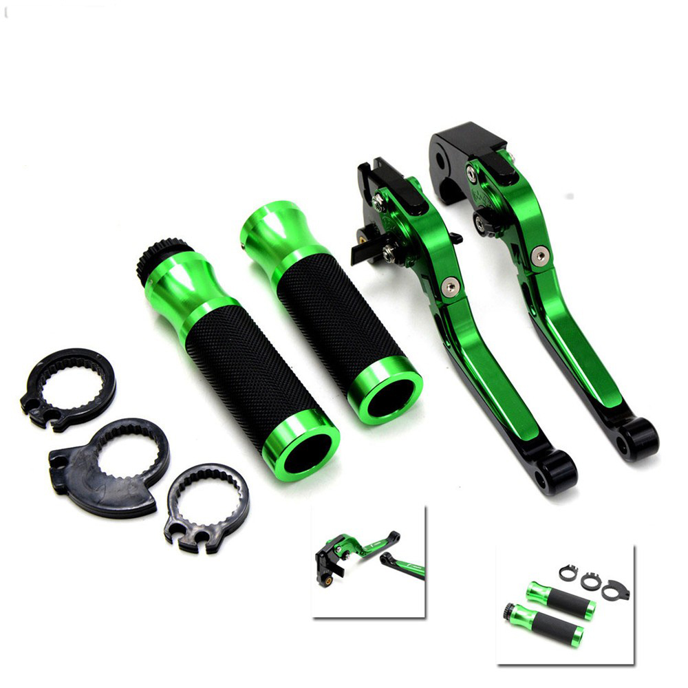 motorcycle accessories 22MM handlebar handle bar grips green brake clutch levers For Yamaha TMAX 530 500 2008 - 2014