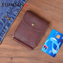 EUMOAN Original handmade wallet male crazy horse skin female simple document folder graduation gift