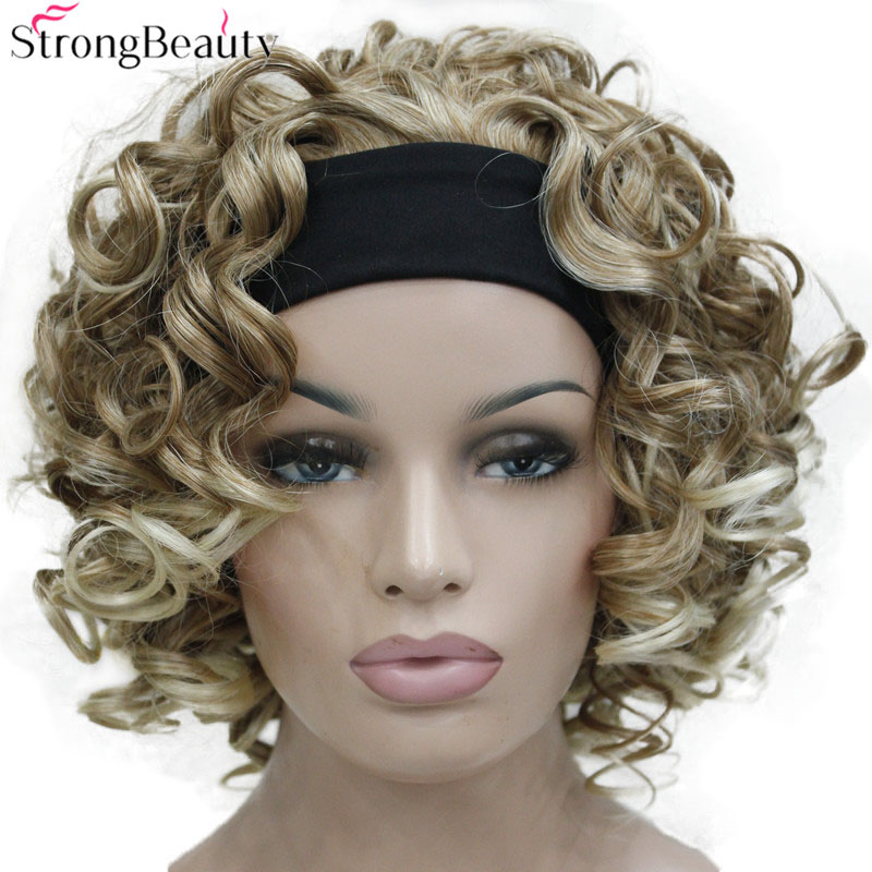 StrongBeauty Short Synthetic Women Black/Red/Blonde/Brown Curly Wigs 3/4 Half Wig With Headband For Lady