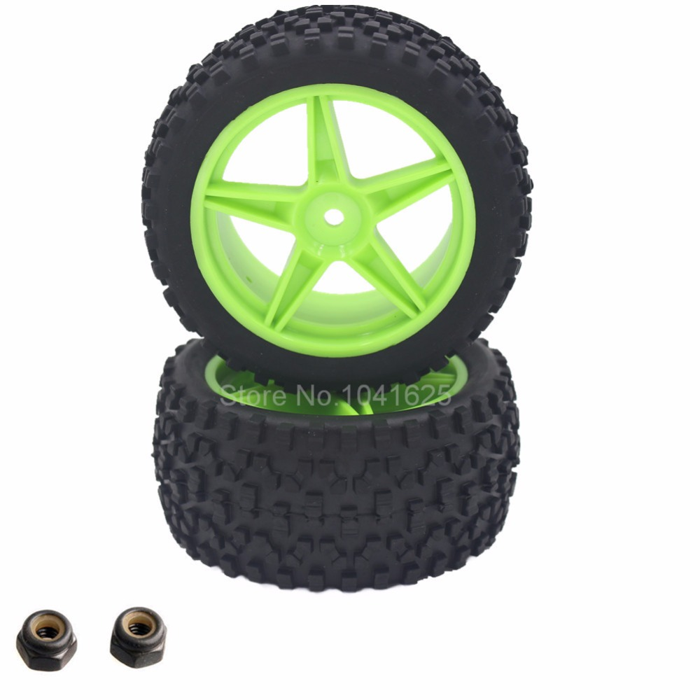 2 Pieces Rubber RC 1/10 Buggy Rear Wheels Tires 12mm Hex Hub For Redcat Tornado EPX S30 Part