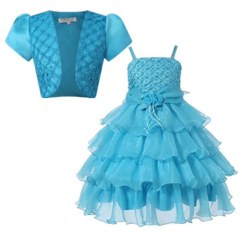 Spring Style 3-12 Year Princess Dress For Girls Shawl Coat+ Harness Dress Baby Girl Dresses Kids Costume Teenager Clothes 2017 lovely toddler girl dress princess stripe tutu baptism child clothes 1 year birthday baby girls dresses for infant 2 year