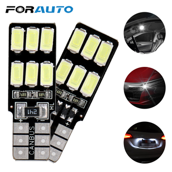 FORAUTO 2 Pieces Car LED Bulbs T10 194 W5W DC 12V Wedge Lamp Auto Interior Light Car-styling 5630 5730 12 SMD Error Free Canbus