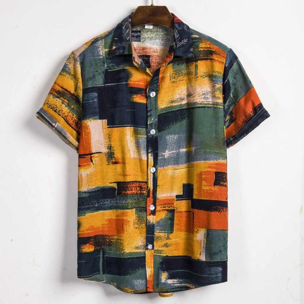 リネンハワイシャツブラウスカジュアル男のシャツ 2019 夏のビーチのシャツブラウス男性ヴィンテージエスニック半袖幾何シャツ