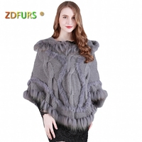 ZDFURS * Spring Autumn Rabbit Fur Cape Knitted Fur Poncho with Raccoon Fur Trimming Women's Sweatercoat ZDKR 165009