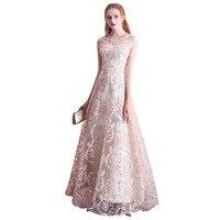 New Champagne Long Banquet Evening Dress 2019 Fashion Elegant Dignified Slim Sister Dinner Long Dresses Evening Formal Dress