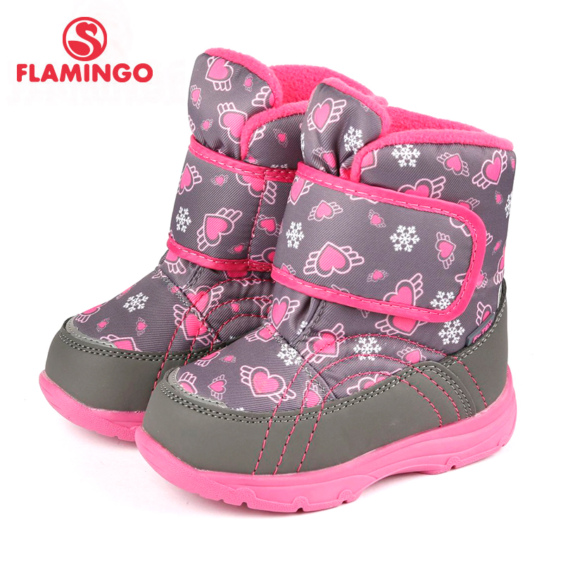 FLAMINGO Waterproof Warm Winter Fashion Snow Boots With Wool High Quality Anti-slip Size 22-27 Kids Shoes For Girl 72M-QK-0428