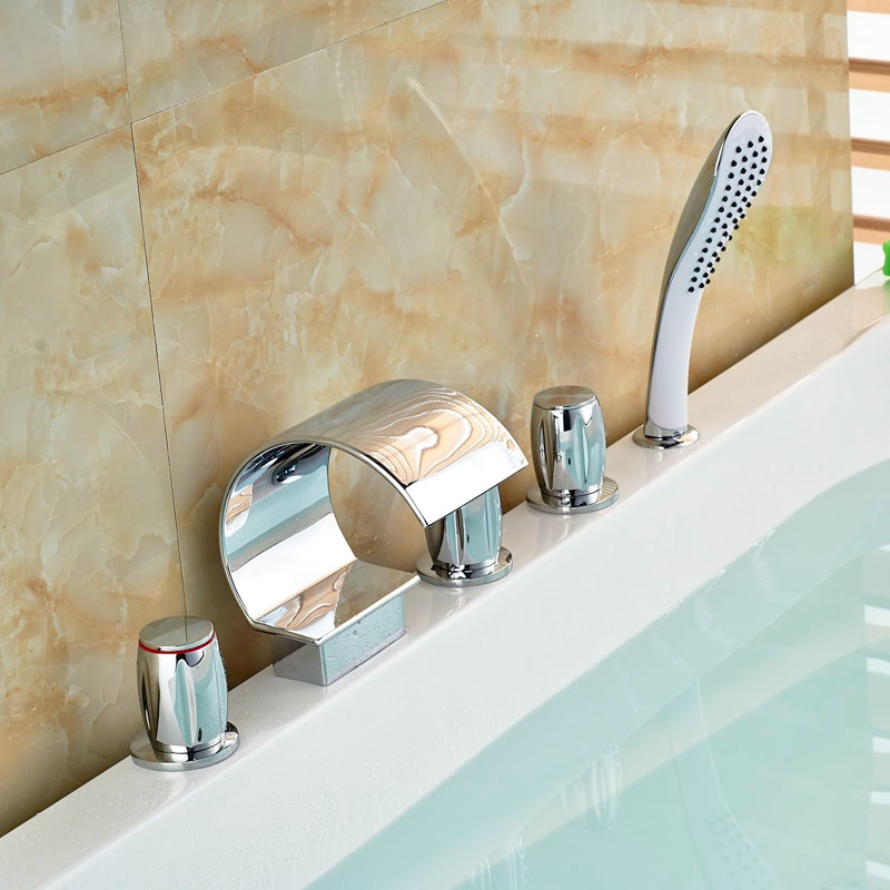 Contemporary 5pcs Chorme Finish Bathtub Faucet Three Handles Deck Mounted With Hand Shower Tap