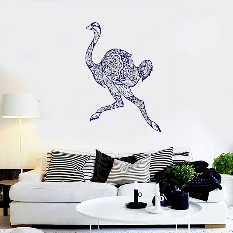 Home Decor Smart Stizzy Wall Decal Running Ostrich Wall Sticker Modern Animal Art Mural Livingroom Decoration Accessories Creative Funny Diy A655 Supplement The Vital Energy And Nourish Yin