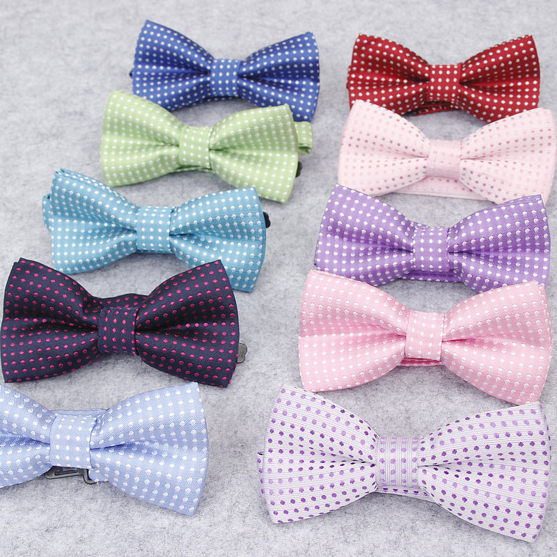 Colored Cool Kids Boys Polka Dot Bow Tie Fashion Skinny Slim Butterfly Wedding Party Pet Show Tuxedo Neck Ties Neckwear Corbatas Traveling Apparel Accessories