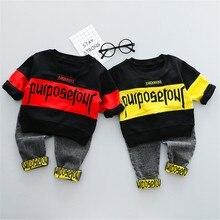 купить Toddler Kids Baby Boys long sleeve letter printed Streetwear Tee Tops +print Jeans Pants Trousers Outfits Children's boy 2pc Set по цене 496.95 рублей
