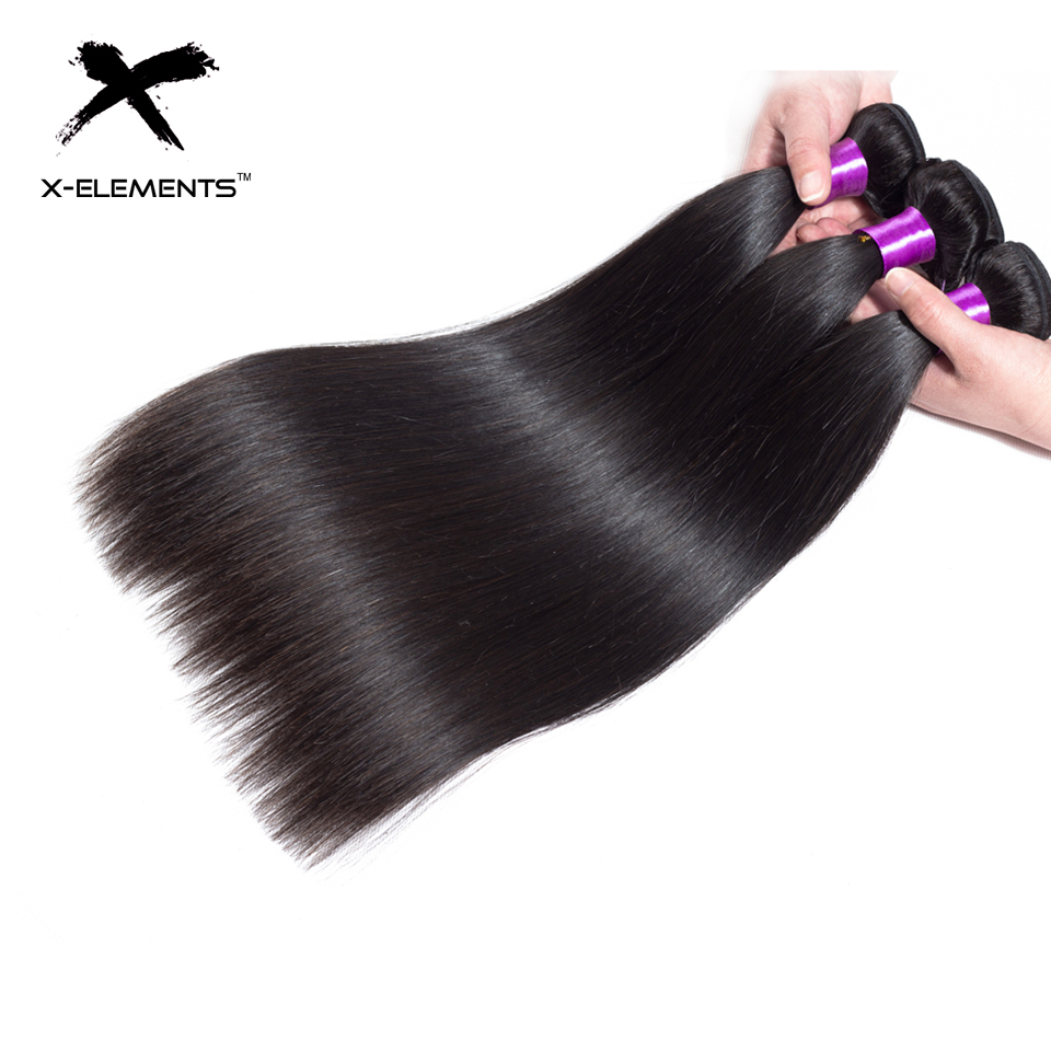 X-Elements Peruvian Straight Hair Weave Bundles Natural Color 100% Human Hair Weave Extensions Non Remy Hair 1 3 4 Bundle Deals (2)