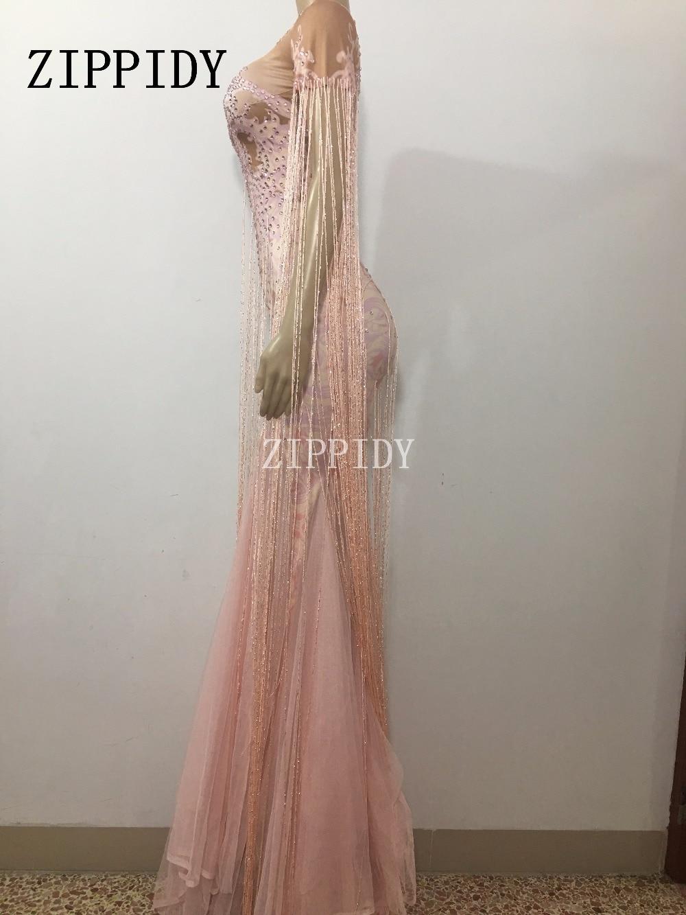 Pink Célébrer Rose Danse De D'anniversaire Robe Longue Soirée Chanteuse Mode Gland Costume Franges Tenue Partie Discothèque FwdOCZdqn