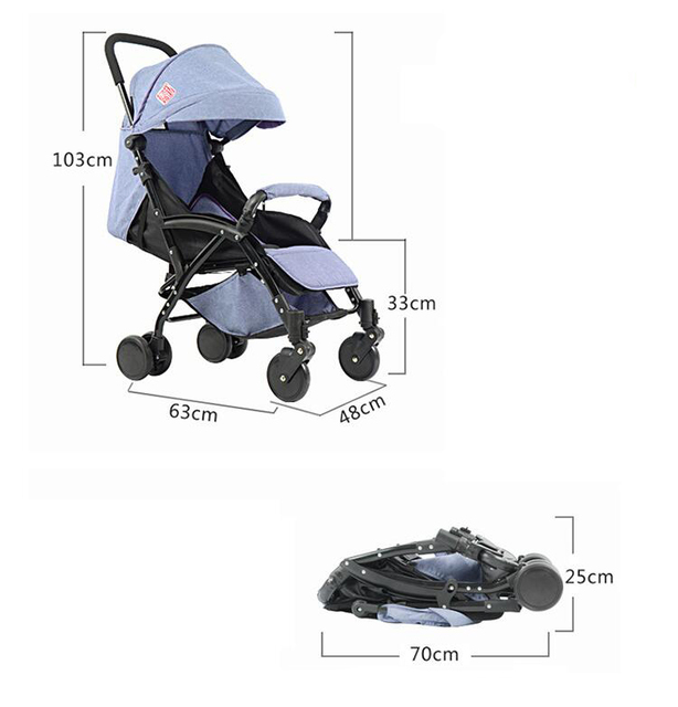 Lightweight Portable Baby Buggy – purple standard