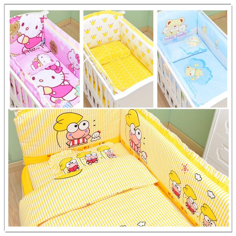 6Pcs/Sets Baby Bedding Sets 120*60 Bumper Soft 100% Cotton Cartoon Newborn Washable Baby Sheet Pillowcase Crib Bumpers Bedding
