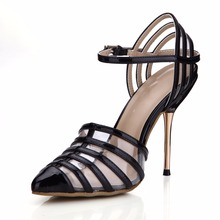 цена на 2019 Pointed Toe Gladiator Stiletto Shoes Sandalias Mujer Women's Ladies Pumps Wedding Prom Evening High Heels Shoes Sandals
