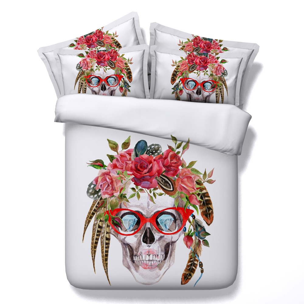Skull Feather Printed Comforter Bedding Sets Twin Full Queen Super Cal King Size Bed Sheets Duvet Covers Christmas Adult Child